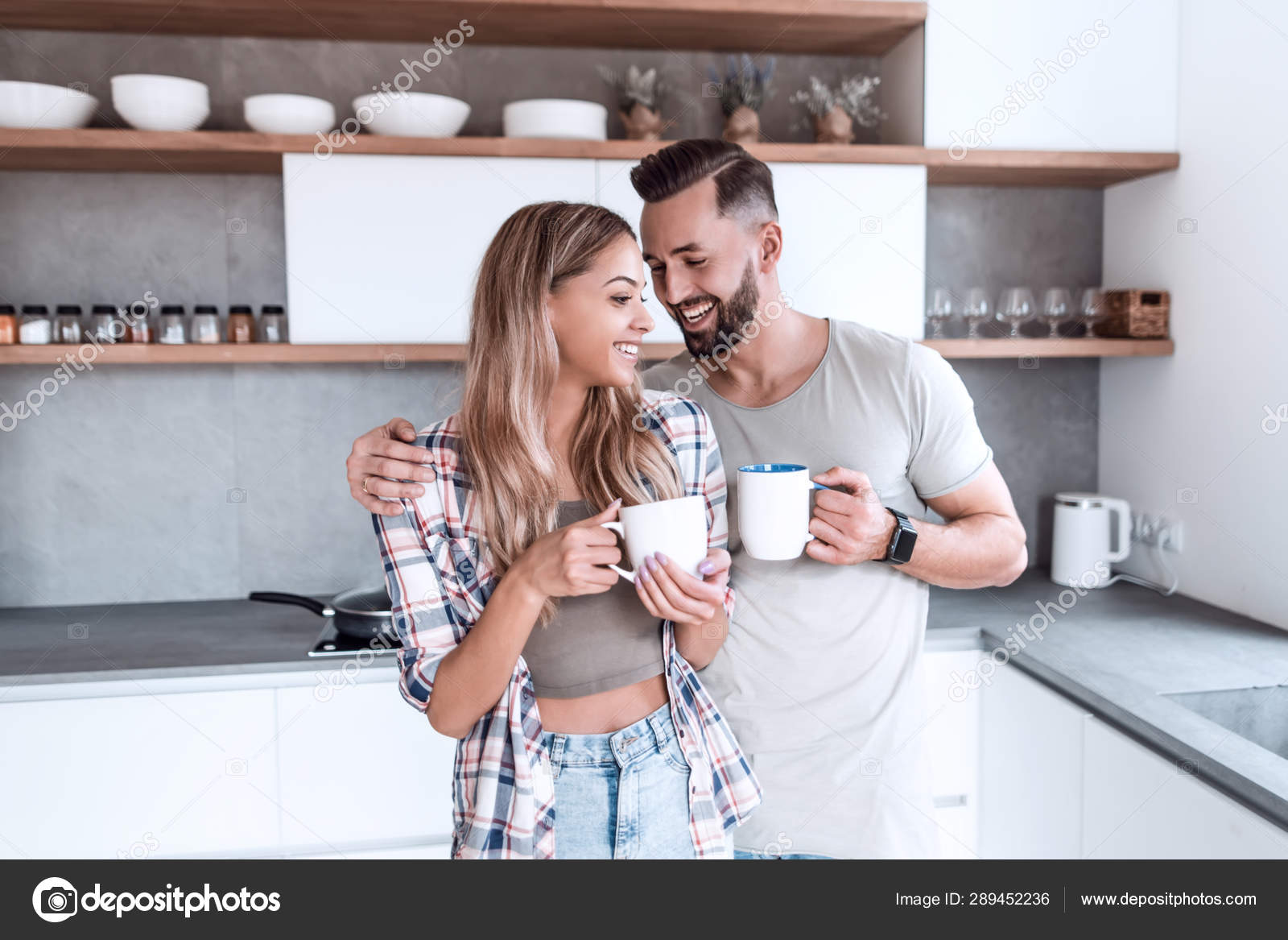 Young Couple In Love In The Kitchen In A Good Morning Stock Photo Image By C Depositedhar 289452236