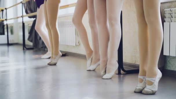 Slow motion of slim womens legs in pointe shoes standing on tiptoes moving gracefully and stretching during ballet class. Body, choreography, art concept.