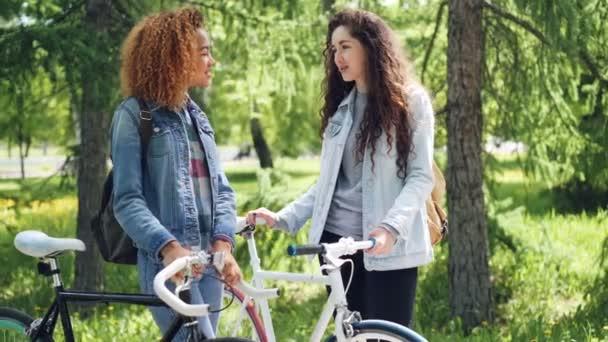 Hezká žena mluví její americký přítel cyklista stojící v parku na slunečný letní den, holky jsou papoušci a. Aktivní životní styl a lidé koncepce.
