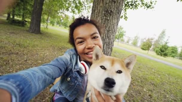 Point Of View Schuss fröhlich Afrikanische amerikanische Teenager-Mädchen nehmen Selfie mit entzückenden Shiba Inu Hund mit Kamera, posieren und Blick in die Kamera. Menschen und Tiere-Konzept.