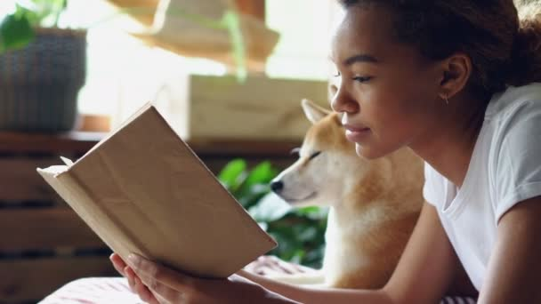 Close-up shot of smart African American woman reading book in free time lying on bed with her pedigree dog with large window and green plants in background.