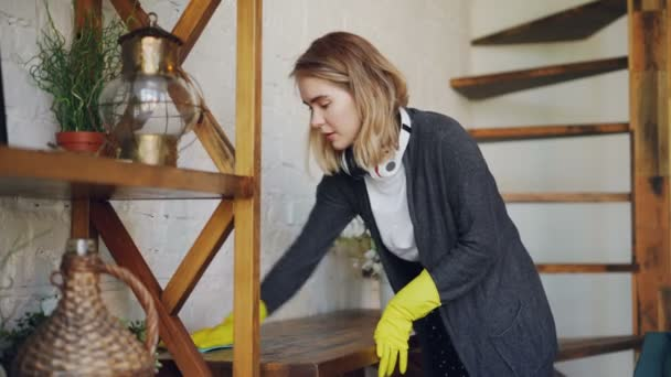 Professional Housekeeper Is Dusting Furniture With Wet Cloth Woman Gorgeous Best Way To Dust Furniture Concept
