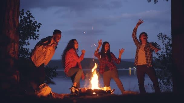 Cinemagraph smyčky - radostné přátel mnohonárodnostní skupiny se tančí kolem ohně v lese během víkendového výletu. Mladí lidé se baví, plamen se pohybuje.