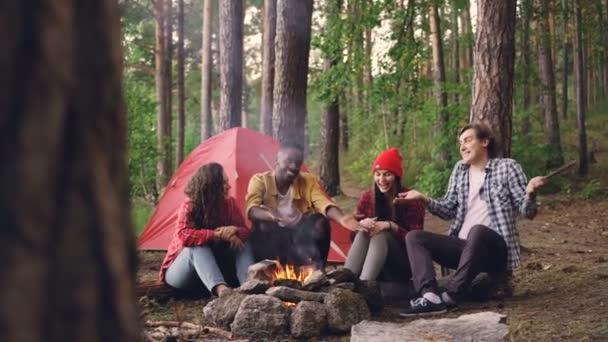 Gruppo Multiracial di giovani amici si diverte intorno falò ne, gesturing e ridere divertirsi calore, buona compagnia e bella natura.