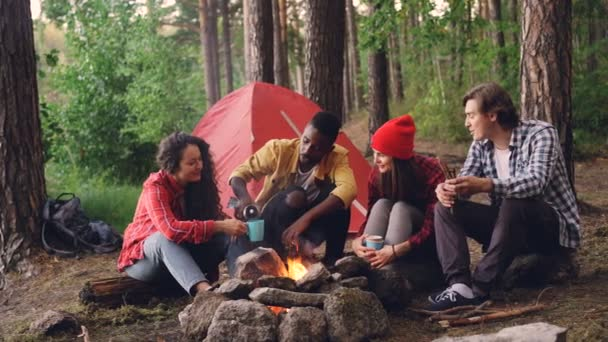 Handsome African American man is pouring hot drink from thermos bottle into glasses and cups sitting around fire at camp with friends multiethnic group.
