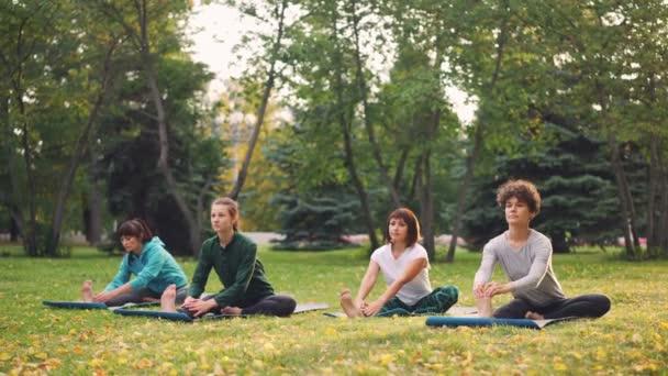 Női jóga diákok csinálás nyújtó gyakorlatok, oktató gyönyörű nő, a parkban szabadtéri órákon. Nyugodt lányok koncentrálódnak a gyakorlatban.