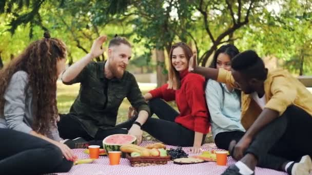 Slow motion of African American and Caucasian men doing high-five sitting on blanket during picnic while girls are talking and laughing. Communication and friendship concept.