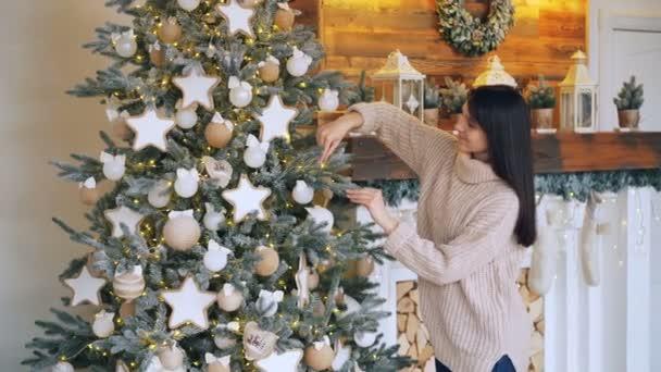 S úsměvem mladá dáma je zdobení vánočního stromu s míčky, hvězdy a světla dotýkají dekorace a slavnostní aktivity se těší. Koncept dovolené a tradice