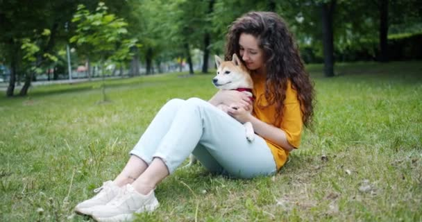 Attractive brunette stroking beautiful shiba inu dog sitting on grass in park