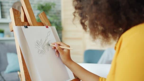 Női művész afro-amerikai nő rajz absztrakt kép otthon
