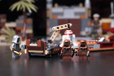 RUSSIA, May 16, 2018. Constructor Lego Star Wars. Episode IV, Java on the Tatooine - collectors of garbage and droids