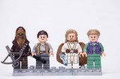 RUSSIA, May 16, 2018. Constructor Lego Star Wars. Mini-figures of the characters Jedi Luke Skywalker, Chewbacca, Ray and Leia Solo Organa