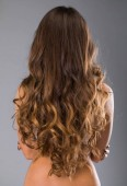 Fotografie Ženy dlouhé vlnité tmavě hnědé vlasy, zadní pohled, izolované na šedém pozadí