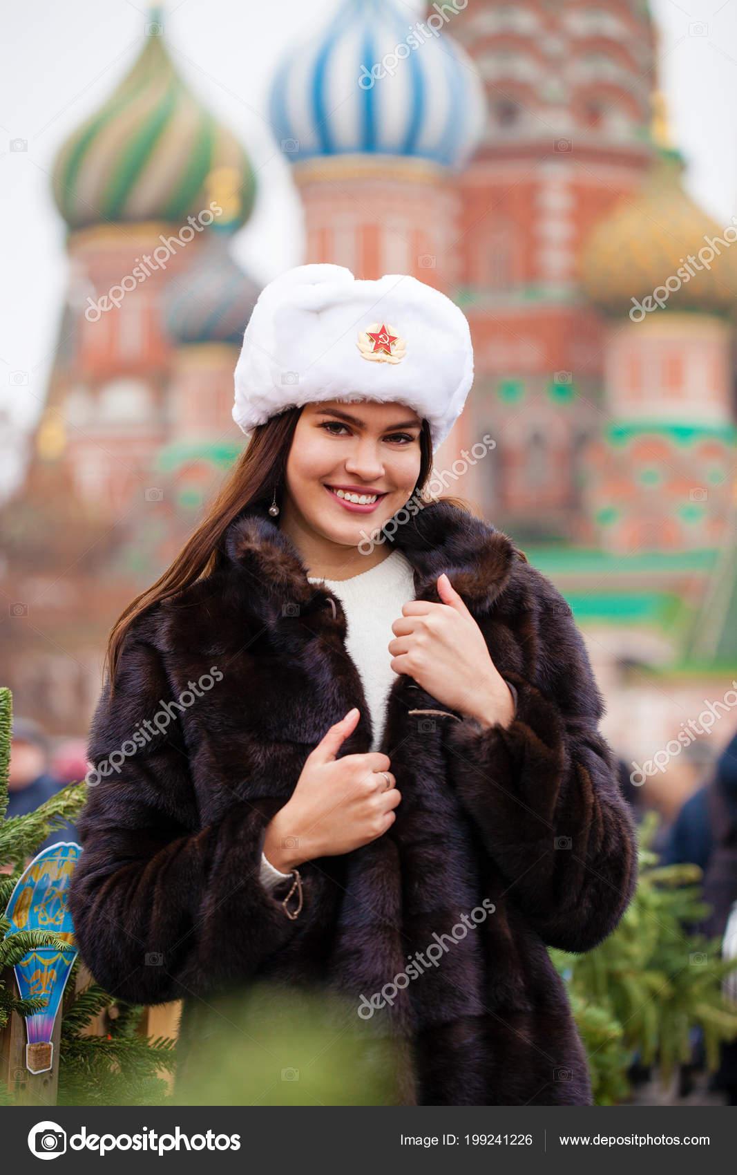 Russian Beauty Portrait Young Beautiful Girl White Hat Fur