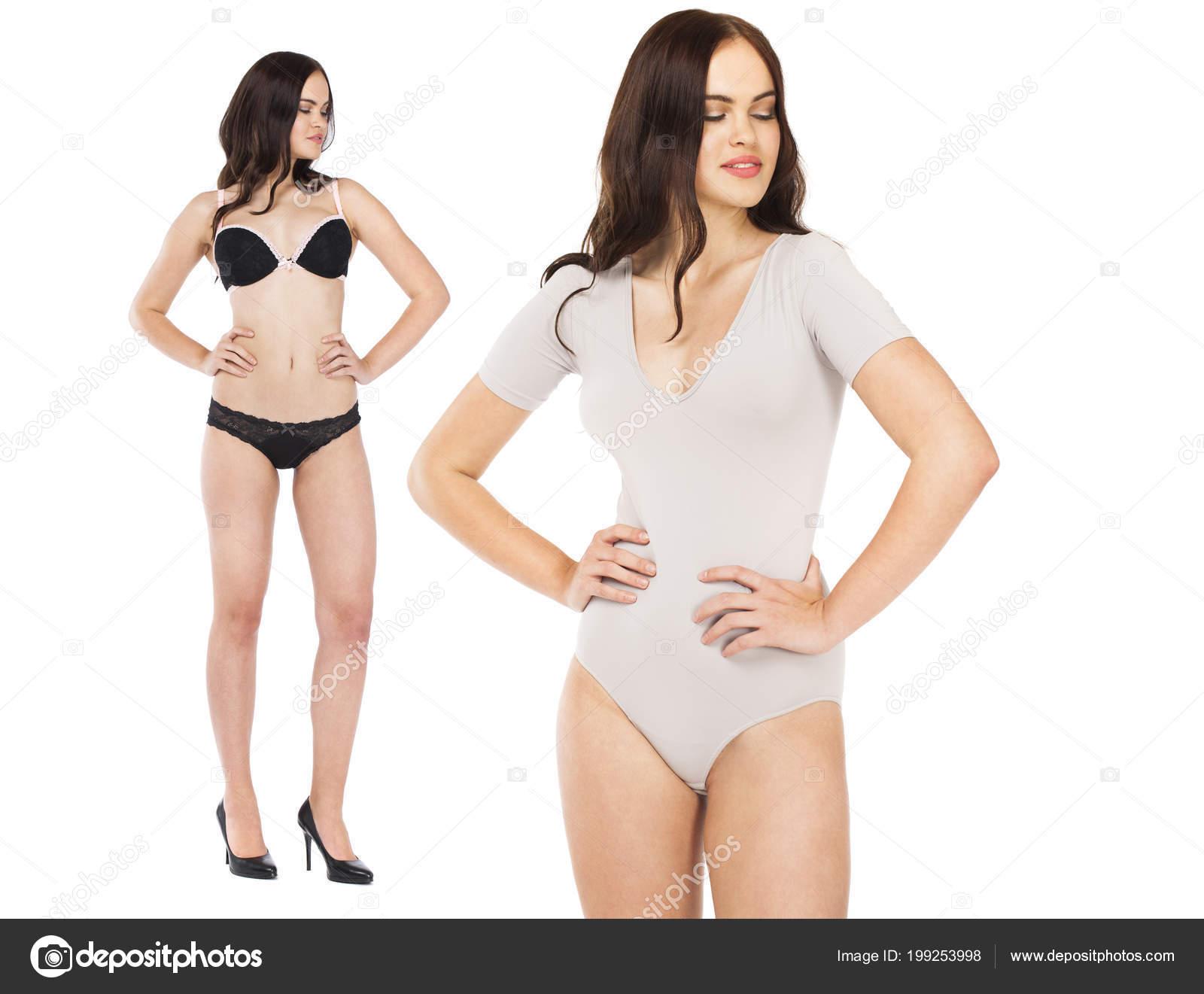88b2bc9ee7 Collage Due Modelli Sexy Ritratto Completo Della Donna Brunetta ...