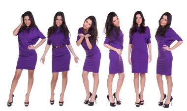 Collage six fashion models. Portrait of a full length young beautiful brunette women in a short purple dress, isolated on a white background
