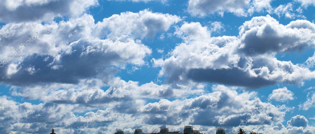White clouds on blue sky in summer day
