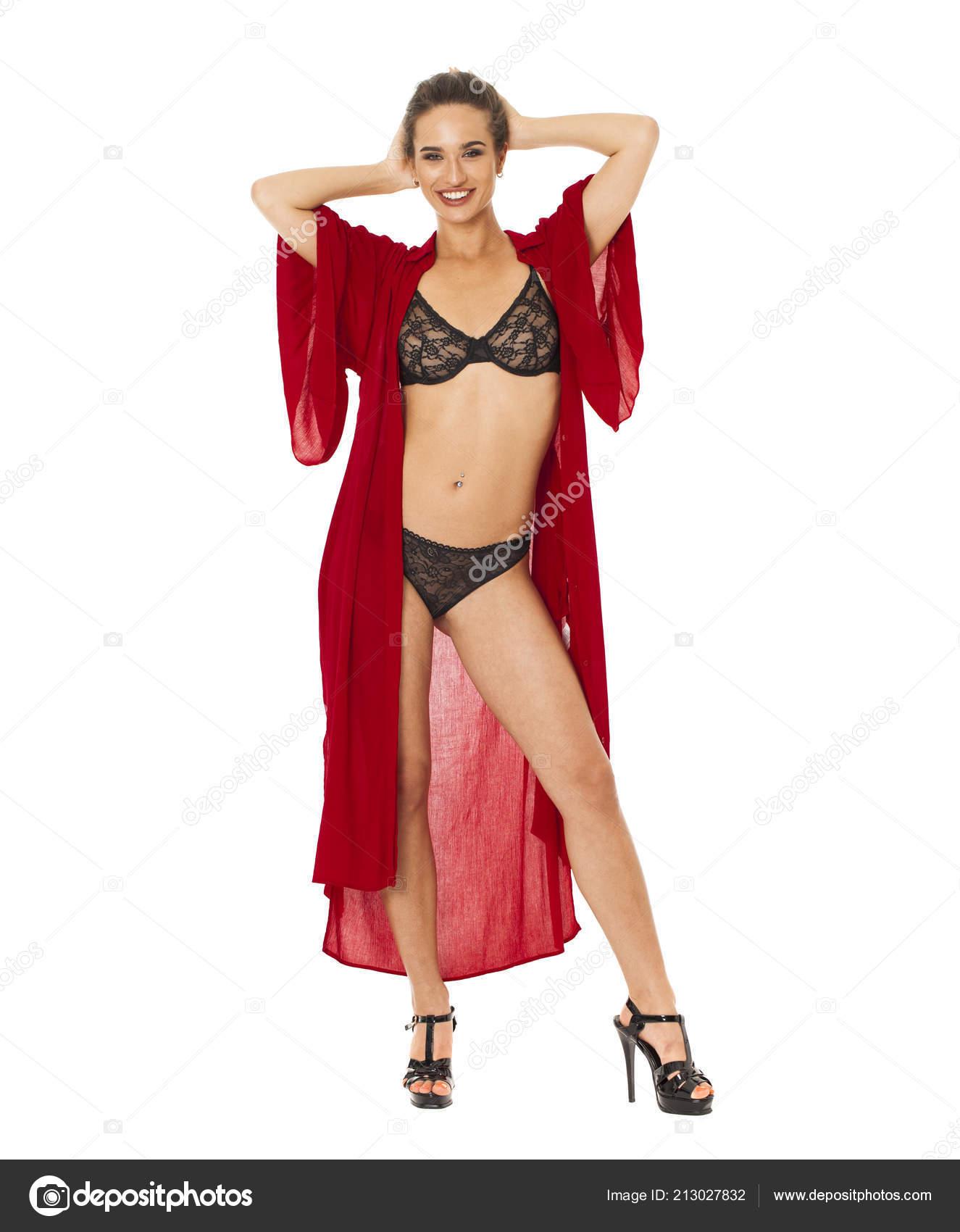 f8c70bd3b Retrato Corpo Inteiro Mulher Morena Sexy Lingerie Preta Vestido Vermelho —  Fotografia de Stock