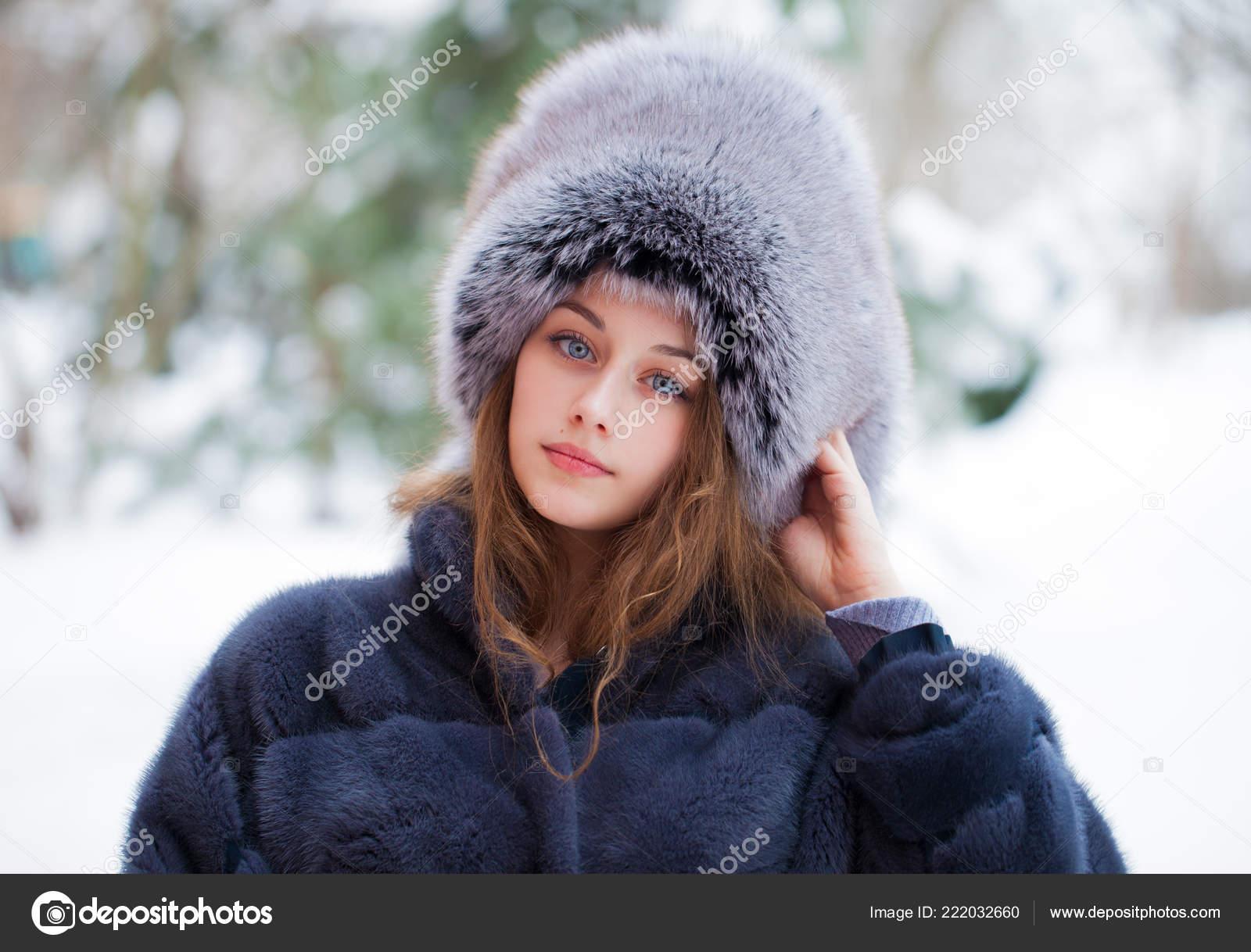 Beautiful Young Girl Blue Fur Hat Fur Coat Portrait Fashion