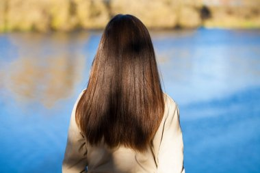 Rear view, Hair beauty little girl model, street outdoors