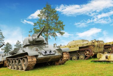 Old military battle tanks on grass with trees against blue sky with clouds