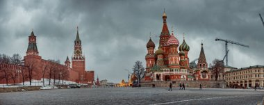 Red square - St Basil Cathedral and Kremlin  at winter evening