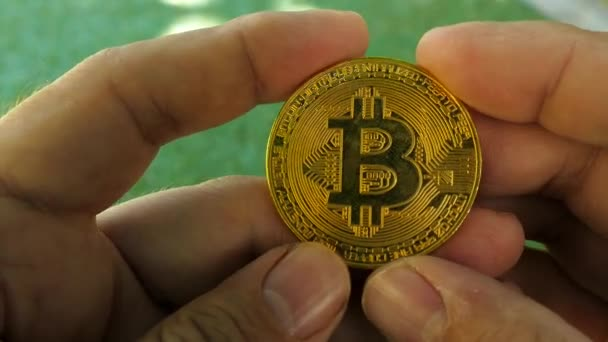 Golden souvenir bitcoin coin in hand