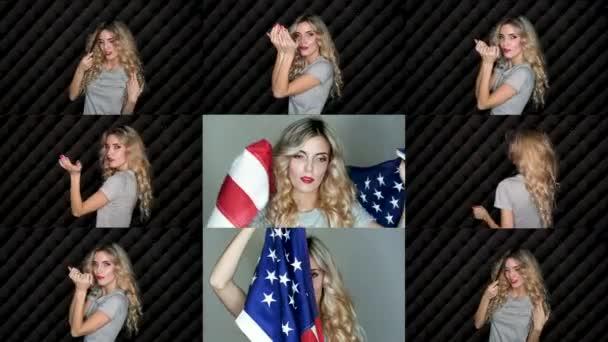 Closeup tvář dívky nádherné blond smyslnost s modré oční make-up pošle polibek vzduchu