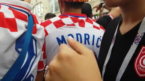 Man in Croatia team t-shirt in time of FIFA soccer world Championship.