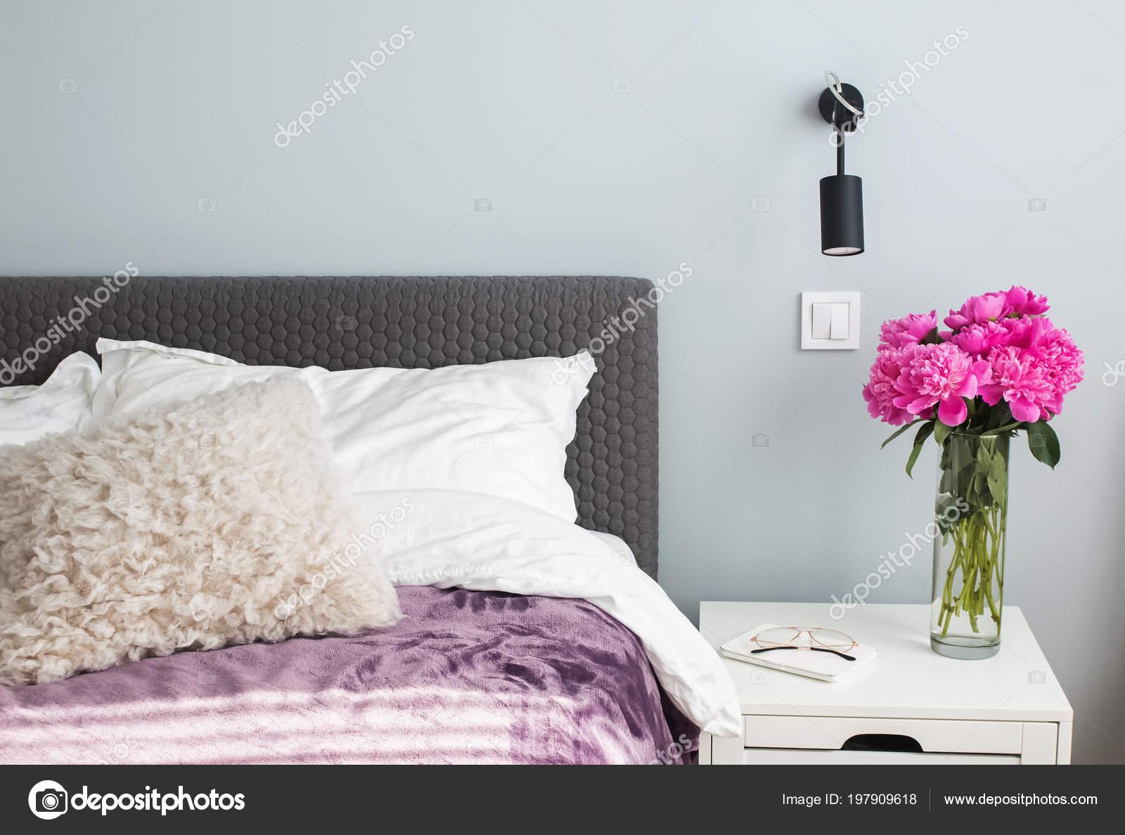 Minimalist modern bedroom in details. — Stock Photo ...