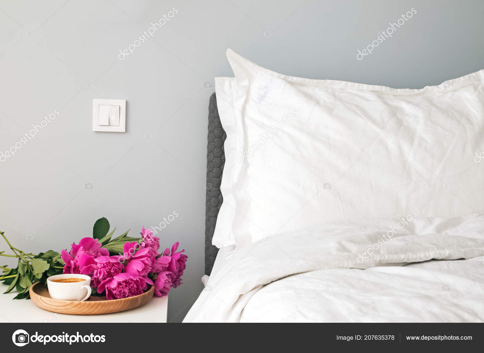 Morning Bedroom Detailts Bed White Bed Sheets Pink Peonies Coffee ...