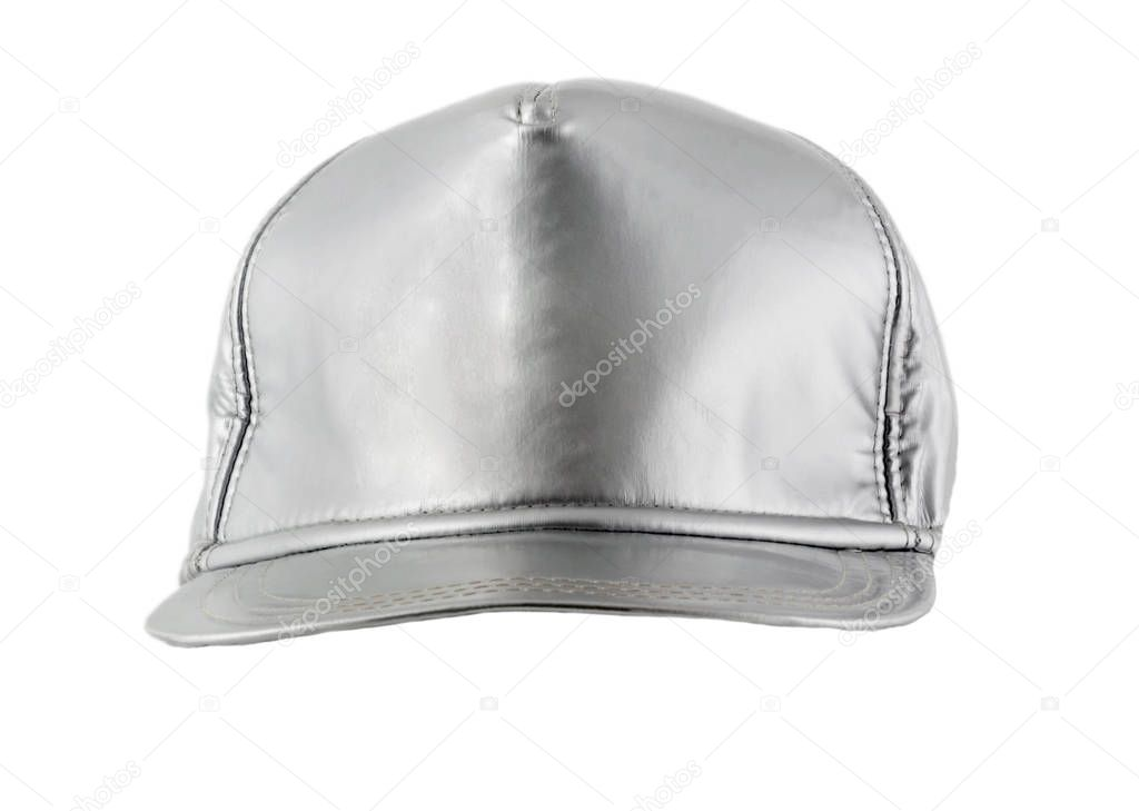 Baseball empty silver cap isolated on white background