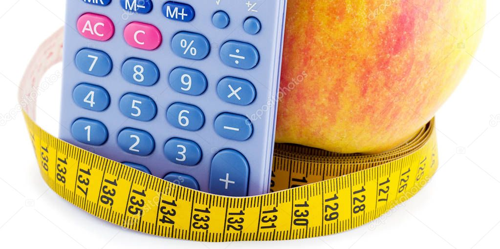 Apple with measuring tape calculator concept of diet and healthy lifestyle isolated on white background