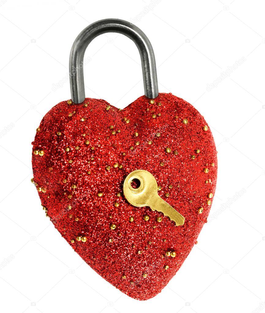 red heart padlock shaped lock padlock and gold key top view shot