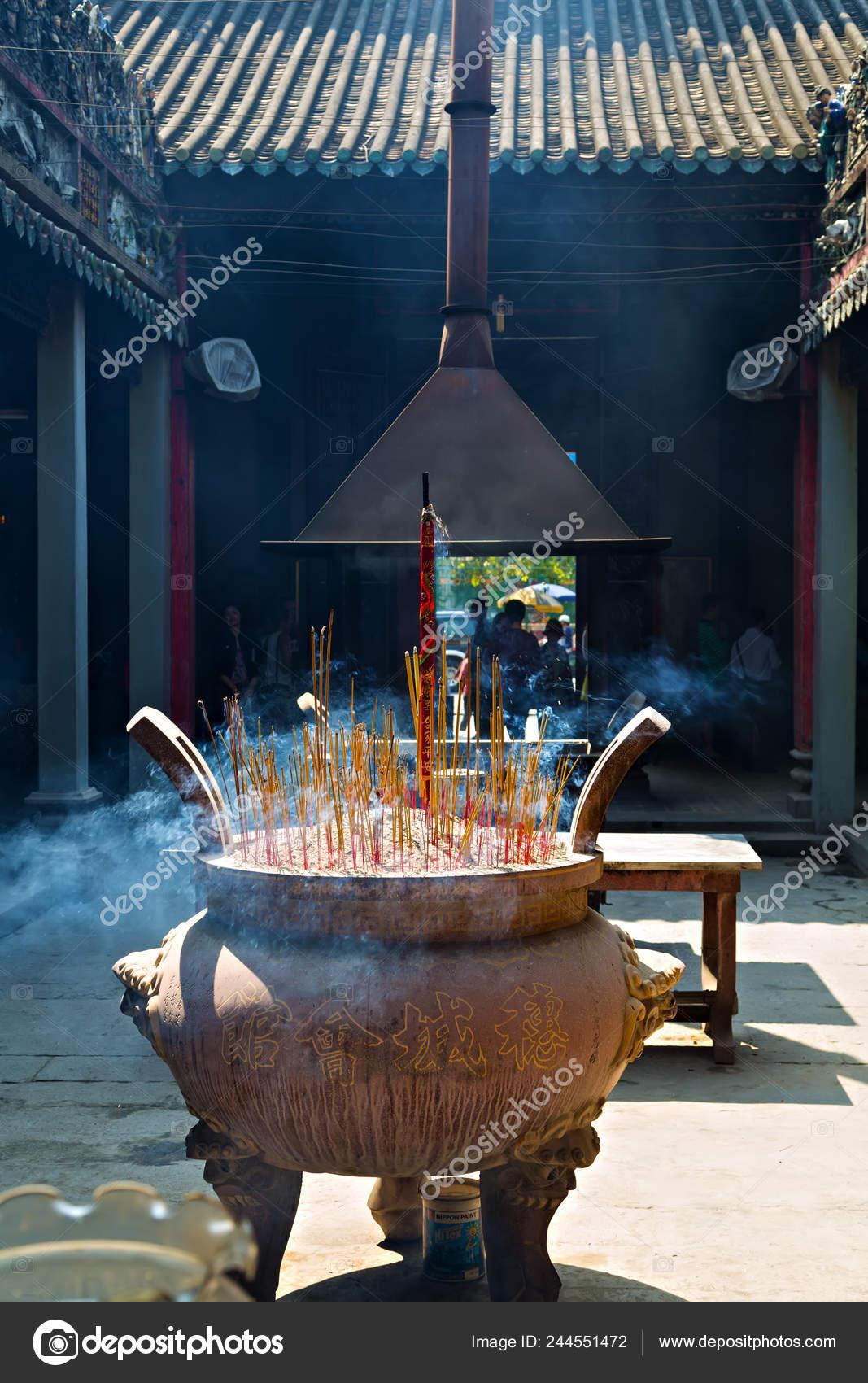 Burning Incense Sticks Smoke Chinese Temple Joss Sticks Burning Vintage Stock Photo C Fotoall 244551472