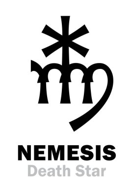 Astrology Alphabet: NEMESIS (Death Star), hypothetic super-distance sinister star-satellite of the Sun. Hieroglyphics character sign (single symbol).