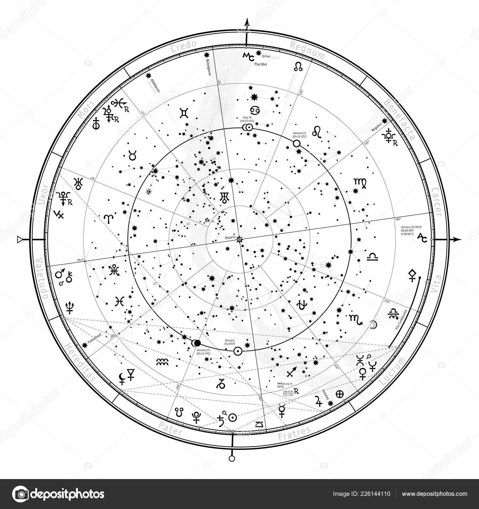 Astrological Celestial Map Northern Hemisphere Horoscope