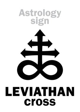 Astrology Alphabet: LEVIATHAN (The Satanic cross). Hieroglyphics sing (mystic kabbalistic demonic symbol).