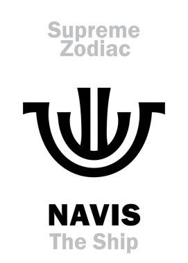Astrology Alphabet: NAVIS (The Ship, The Boat / The Celestial Vessel), constellation Argo Navis. Sign of Supreme Zodiac (External circle). Hieroglyphic character (persian symbol).