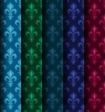 Royal Heraldic Lilies (Fleur de lis) -- Rich colorful wallpaper, fabric textile, seamless pattern, set of 5 versicolored rolls.