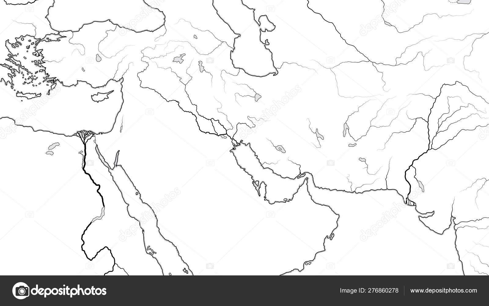 Image of: World Map Of Middle East Region Asia Minor Near East Levant Turkey Armenia Syria Iraq The Emirates Saudi Arabia Persian Gulf Iran Pakistan Geographic Chart With Coastline And Main Rivers Stock