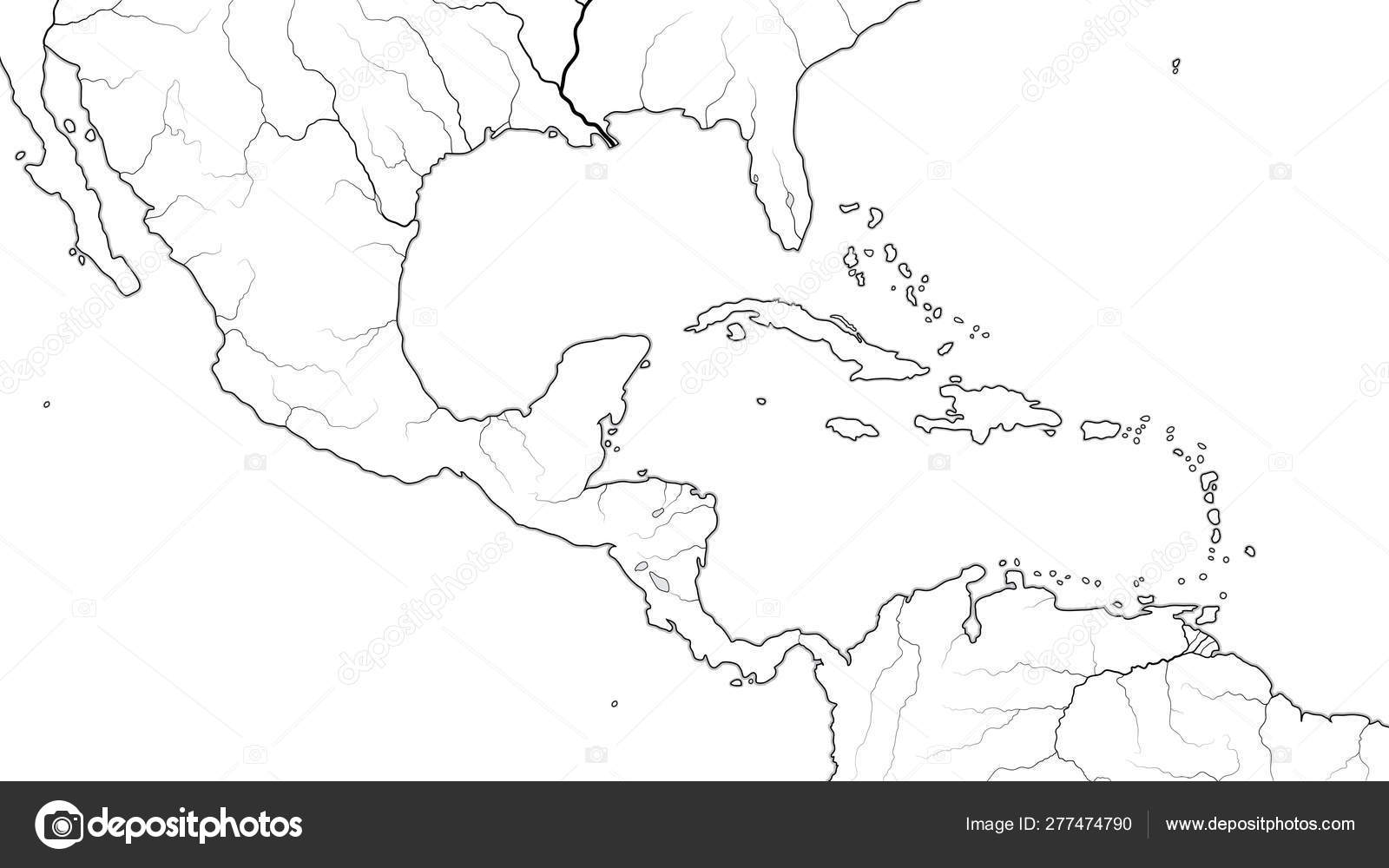 World Map of CENTRAL AMERICA and CARIBBEAN BASIN REGION ...