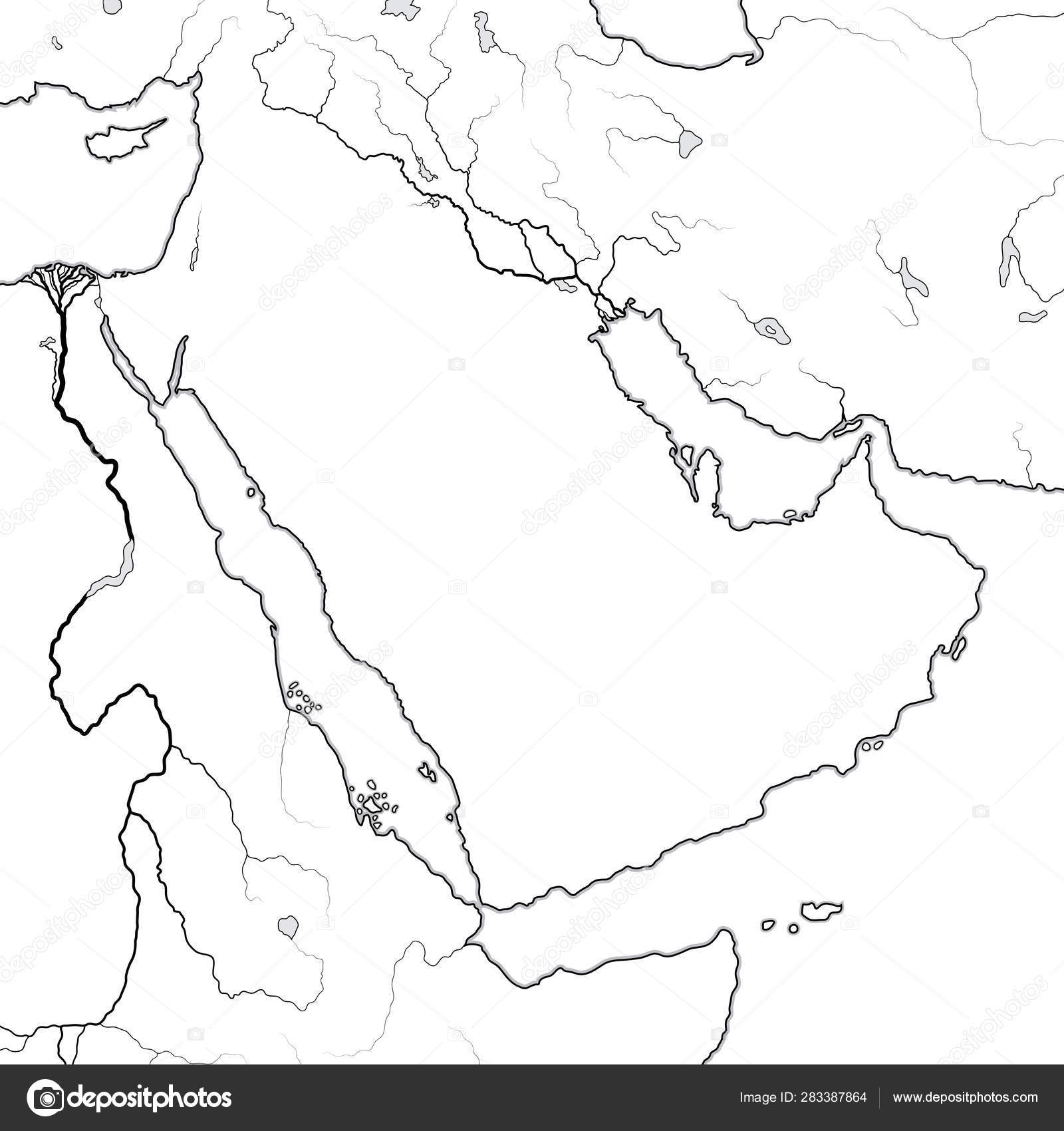 World Map of ARABIAN PENINSULA: The Middle East, Arab World ...