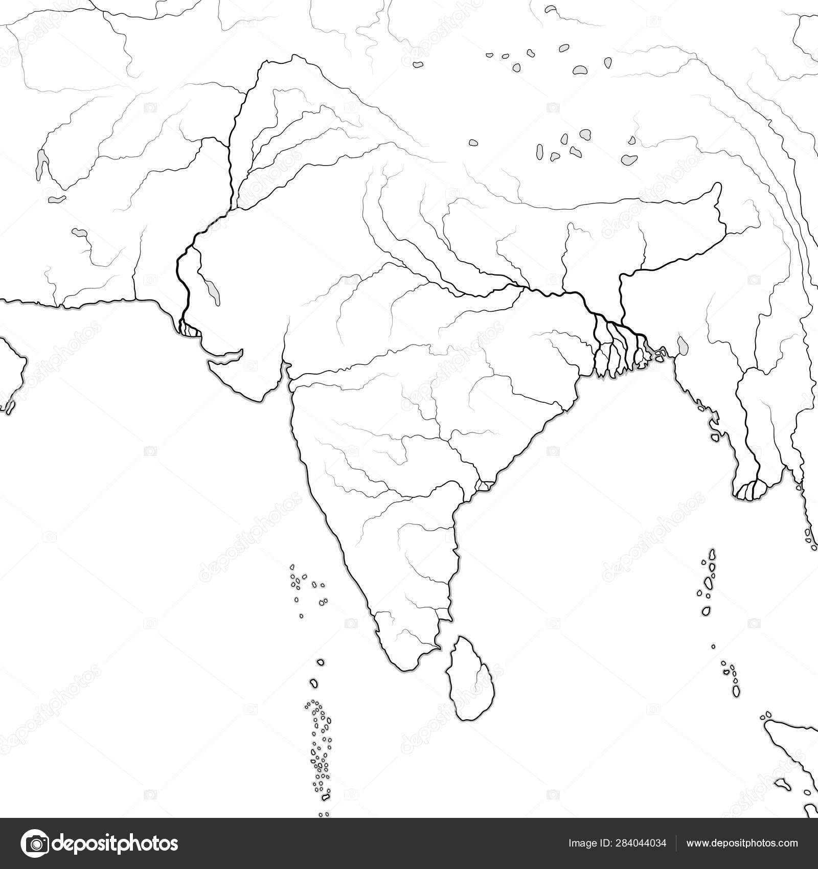 World Map of INDIAN SUBCONTINENT in SOUTH ASIA: India, stan ... on