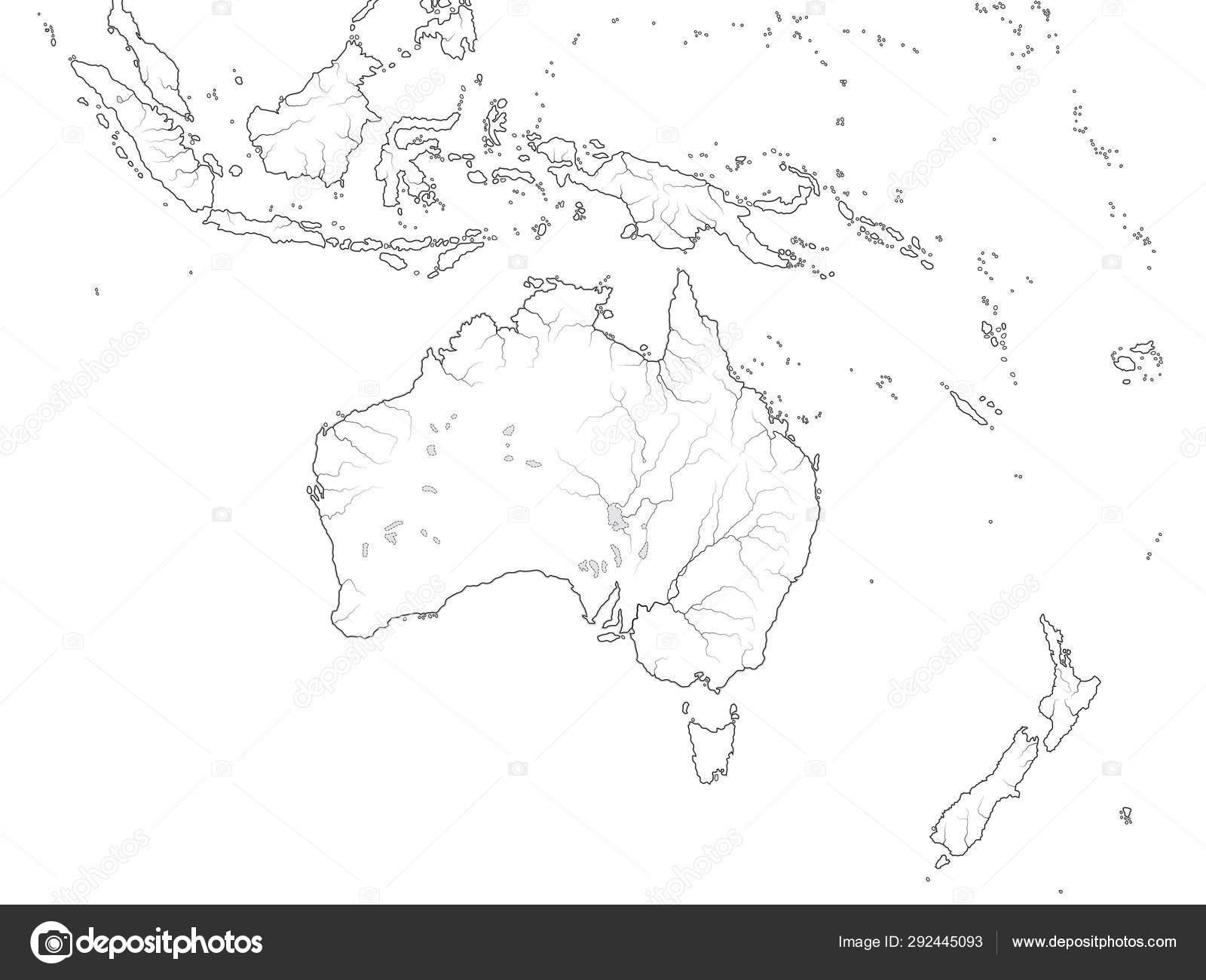 Mapa Mundial De La Region De Australasia Australia Nueva