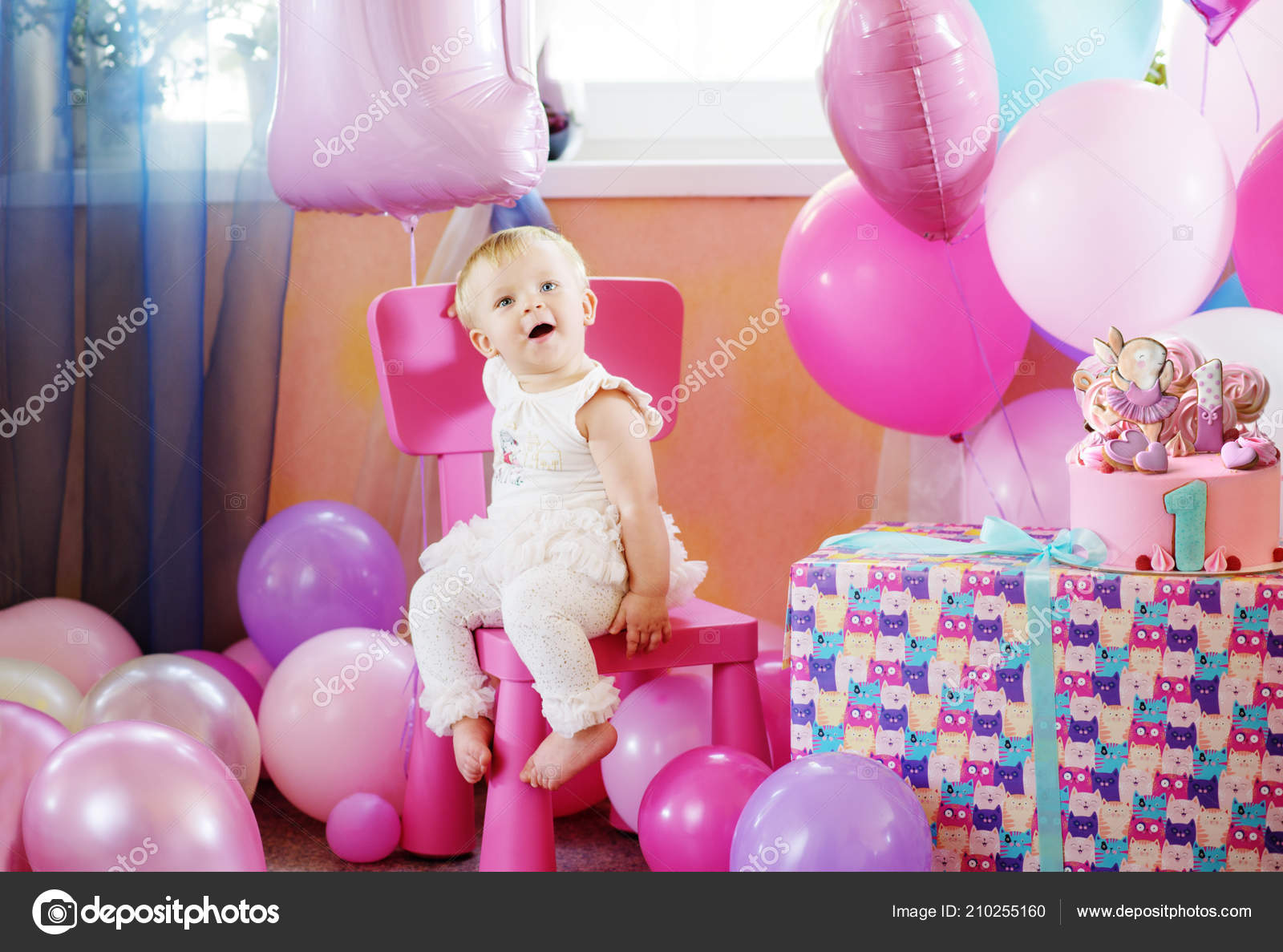 Baby Girl Her First Birthday Balloons Cake Stock Photo