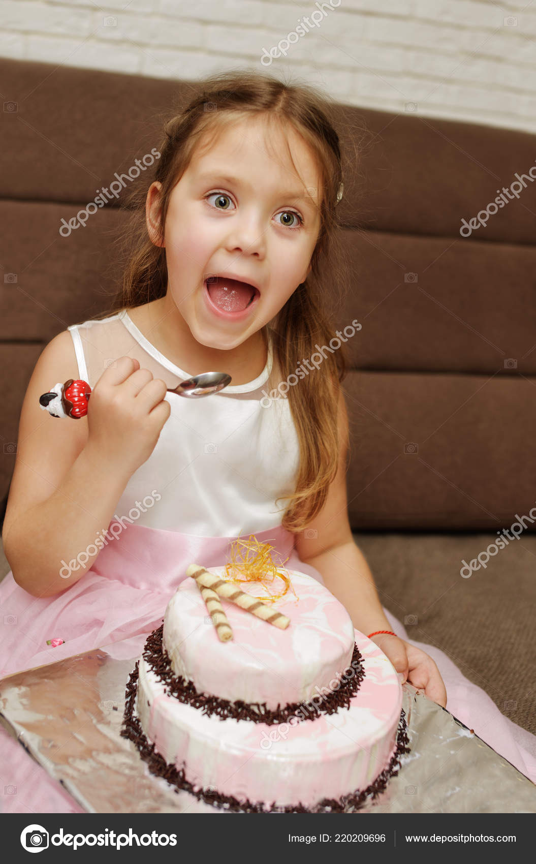 Terrific Funny Kid Girl Eating Birthday Cake Open Mouth Stock Photo Funny Birthday Cards Online Inifofree Goldxyz
