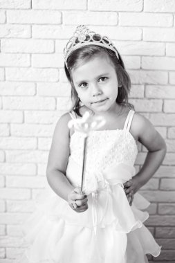 cute little princess with crown and magic wan