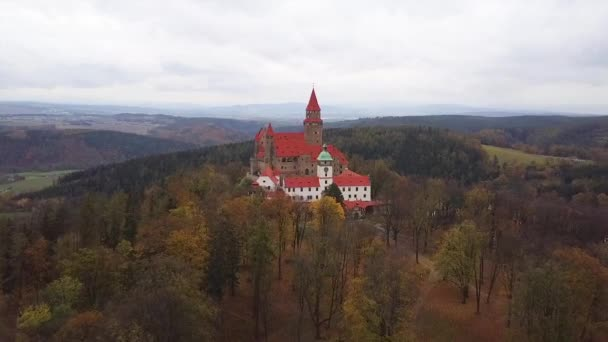 Castle Bouzov in Czech Republic - aerial view - travel and architecture video
