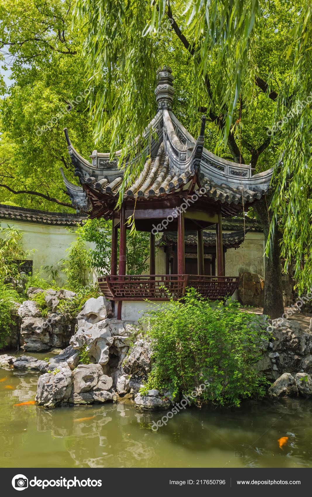 Jardin Yuyuan Jardin Bonheur Dans Centre Shanghai Chine Fond Voyage
